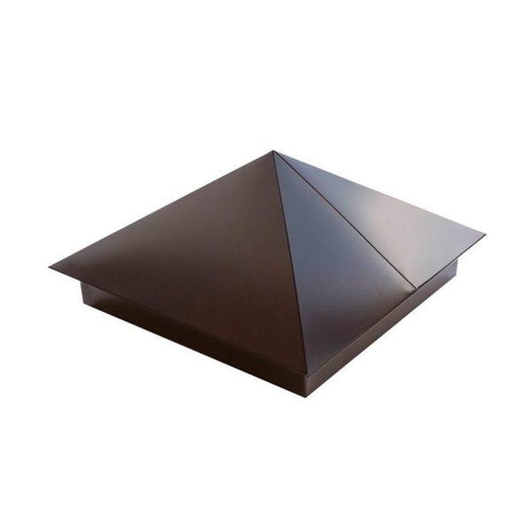 Колпак на столб 390*390 шоколад Ral 8017